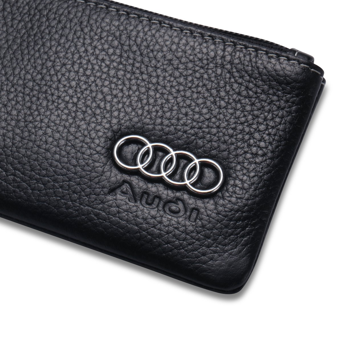 Audi Car Key Holder Remote Cover Fob with 1 Metal Keychain Genuine Leather