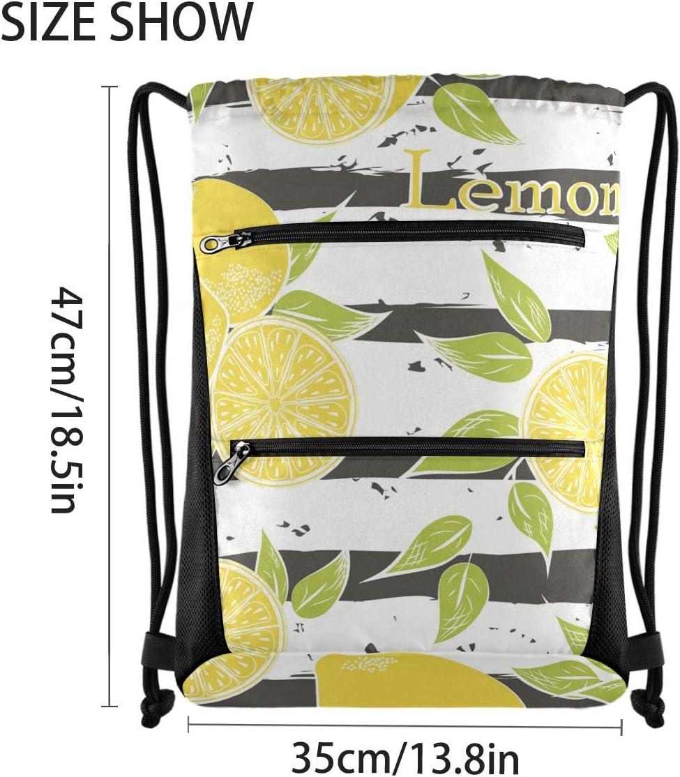 Drawstring Bag Fruits Lemon Pattern Lightweight Sport Gym Sackpack for Travel Beach Yoga Gym Hiking Swimming with Zipper Mesh Pockets