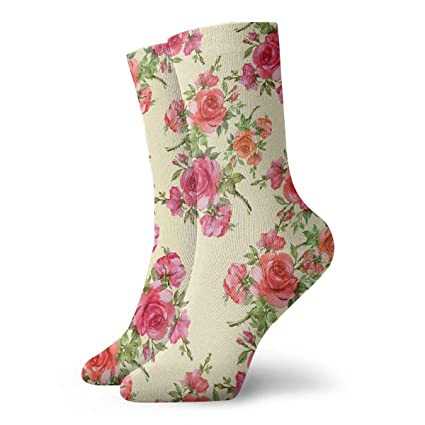 20e8830be36a4 Amazon.com: TAOMAP89 Red Roses Pattern Compression Ankle Socks for ...