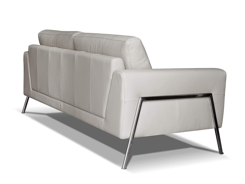 3 posti Alkove colore grigio chiaro stile moderno divano in pelle modello Kutina