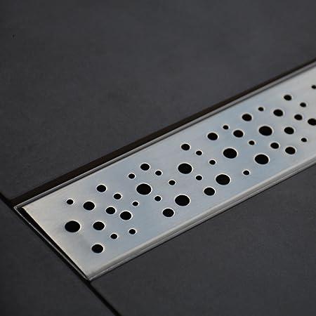 VS-DB01-50S petites vagues 90/cm argent Caniveau de douche de Vilstein avec siphon de sol et /écoulement de douche
