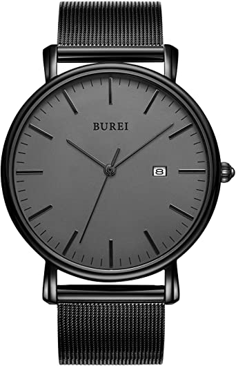 BUREI Reloj de Pulsera clásico para Hombres Estuche Ultra Fino Minimalista Dial analógico con Fecha Movimiento de Cuarzo japonés: BUREI: Amazon.es: Relojes