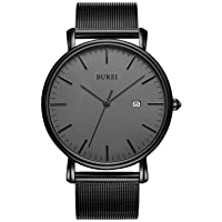 Men's Fashion Minimalist Wrist Watch Analog Date with Stainless Steel Mesh Band
