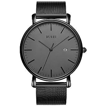 637a2008218ccc BUREI Men's Fashion Minimalist Wrist Watch Analog Deep Gray Date with Black  Mesh Band