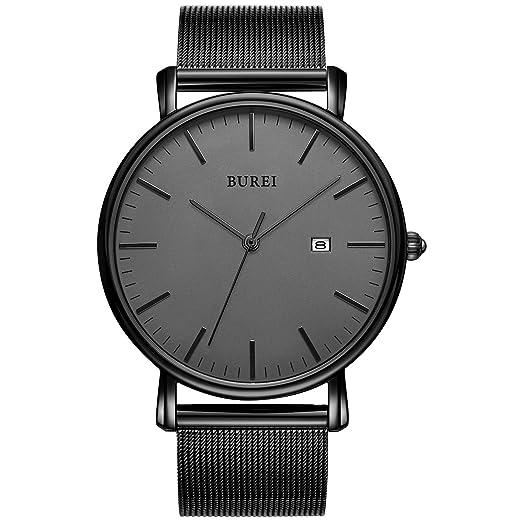 BUREI Men's Fashion Minimalist Wrist Watch Analog Deep Gray Date with Black Mesh Band best men's minimalist watches