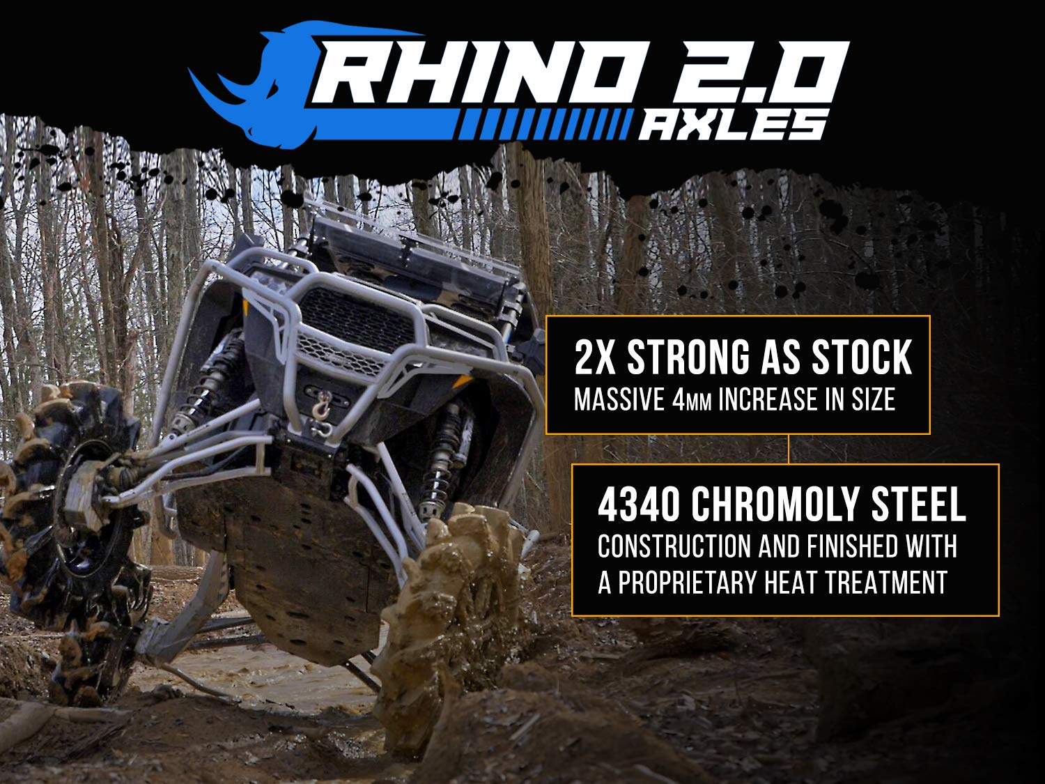 FRONT RIGHT 2016+ 2X Stronger Than Stock! - Stock Length SuperATV Heavy Duty Rhino 2.0 Axle for Can-Am Maverick Standard//DPS//XMR//MAX
