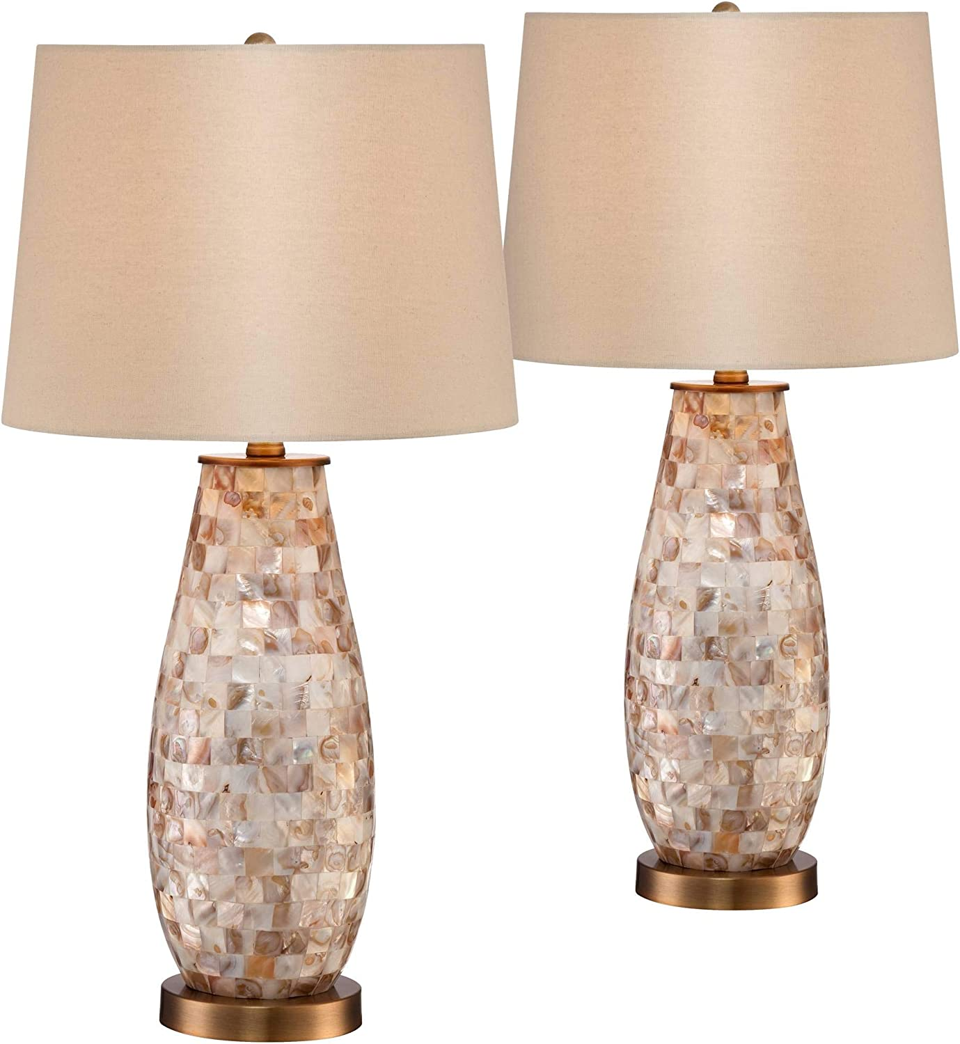 Kylie Country Cottage Coastal Table Lamps Set Of 2 Mother Of Pearl Tile Vase Beige Fabric Drum Shade Decor For Living Room Bedroom House Bedside Nightstand Home Office Family Regency Hill