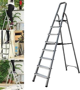 Escalera plegable de aluminio, antideslizante, segura para pies amplios, ligera, portátil, plegable, ahorra espacio (8 pasos): Amazon.es: Bricolaje y herramientas