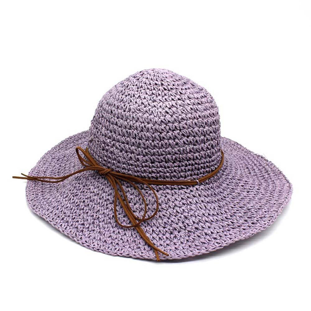 LOVEHATS Women Summer Beach Sun Hat Floppy Wide Brim Foldable Panama Femme Wide Brim Hat Bowknot Straw Hats Purple