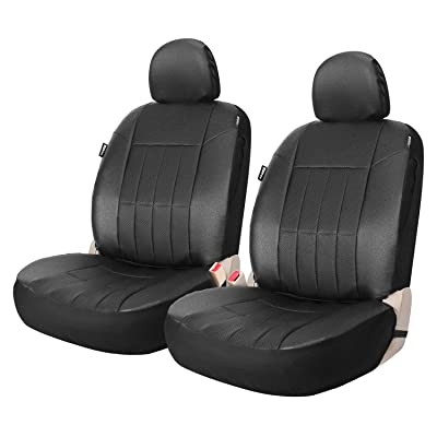 XCAR Black Faux Leather Front Seat Covers Set of 2 Airbag Compatible Automotive Interior Protection: Automotive