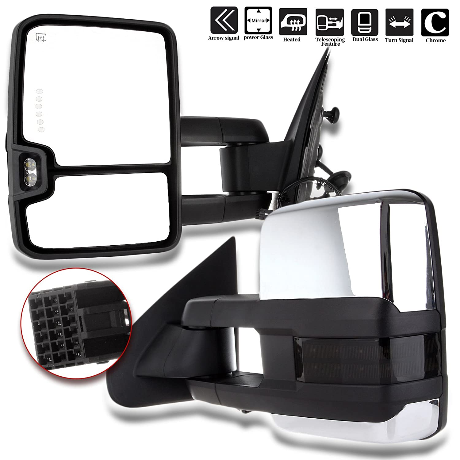 Scitoo Fit Chevy Gmc Towing Mirrors Chrome Rear View Gm 2000 Wiring Harness Mirror 2014 2018 Silverado Sierra 1500 2015