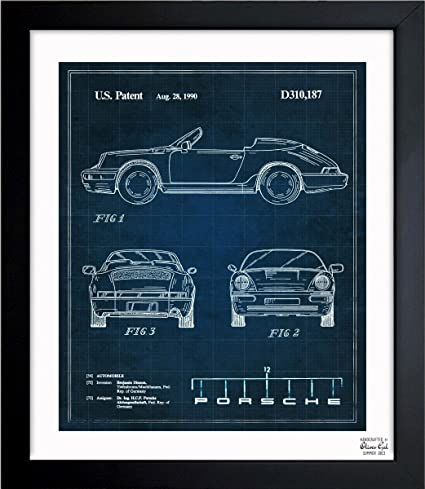 Porsche 911, 1990 - TOM Vintage Framed Wall Art Print for Home decor &