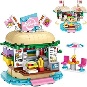 Building Blocks Toys Set for Toddlers, Kids Toys 443PCS Hamburger Store STEM Construction Building Blocks Kits, Educational Building Bricks Birthday Christmas for Age 6-12 Years Old Girls Boys