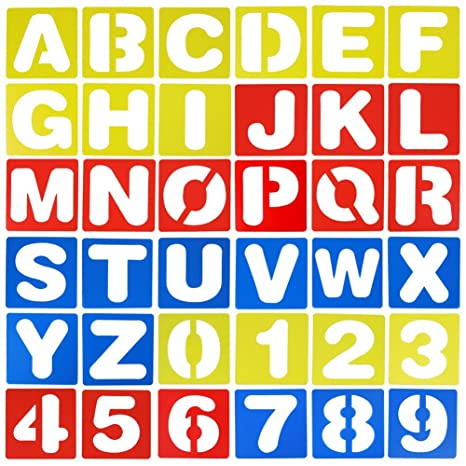 Lettering Stencil Set Letters Alphabet Stencils Craft Number Lettering Guide x 4