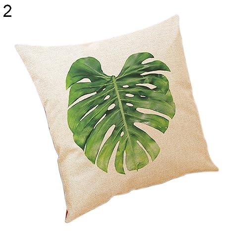 Sukisuki Funda de cojín de lino y algodón, diseño de hojas ...