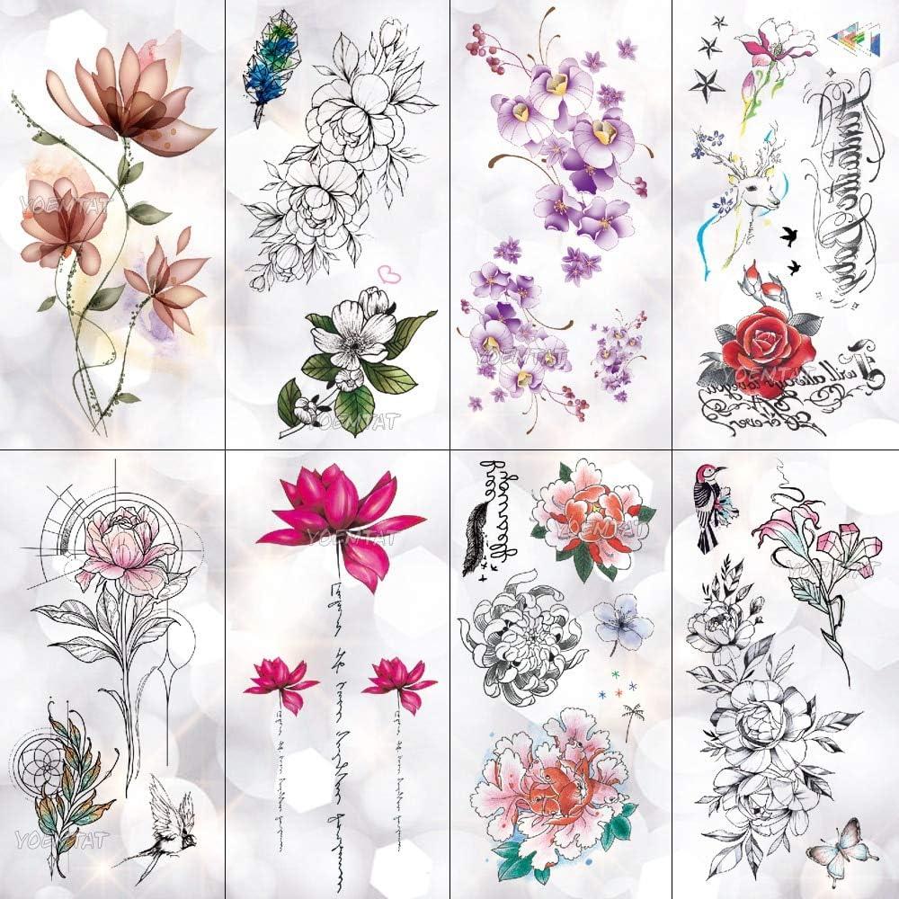 HXMAN 5 Unids Lotus Peony Rosa Flores Impermeables Tatuaje ...