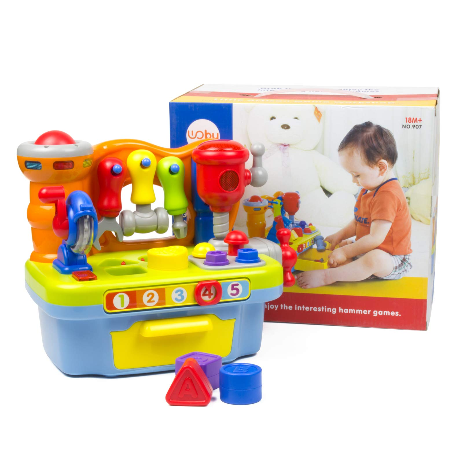 Woby Multifunctional Musical Learning Tool Workbench Toy Set for Kids with Shape Sorter Tools by Woby (Image #7)