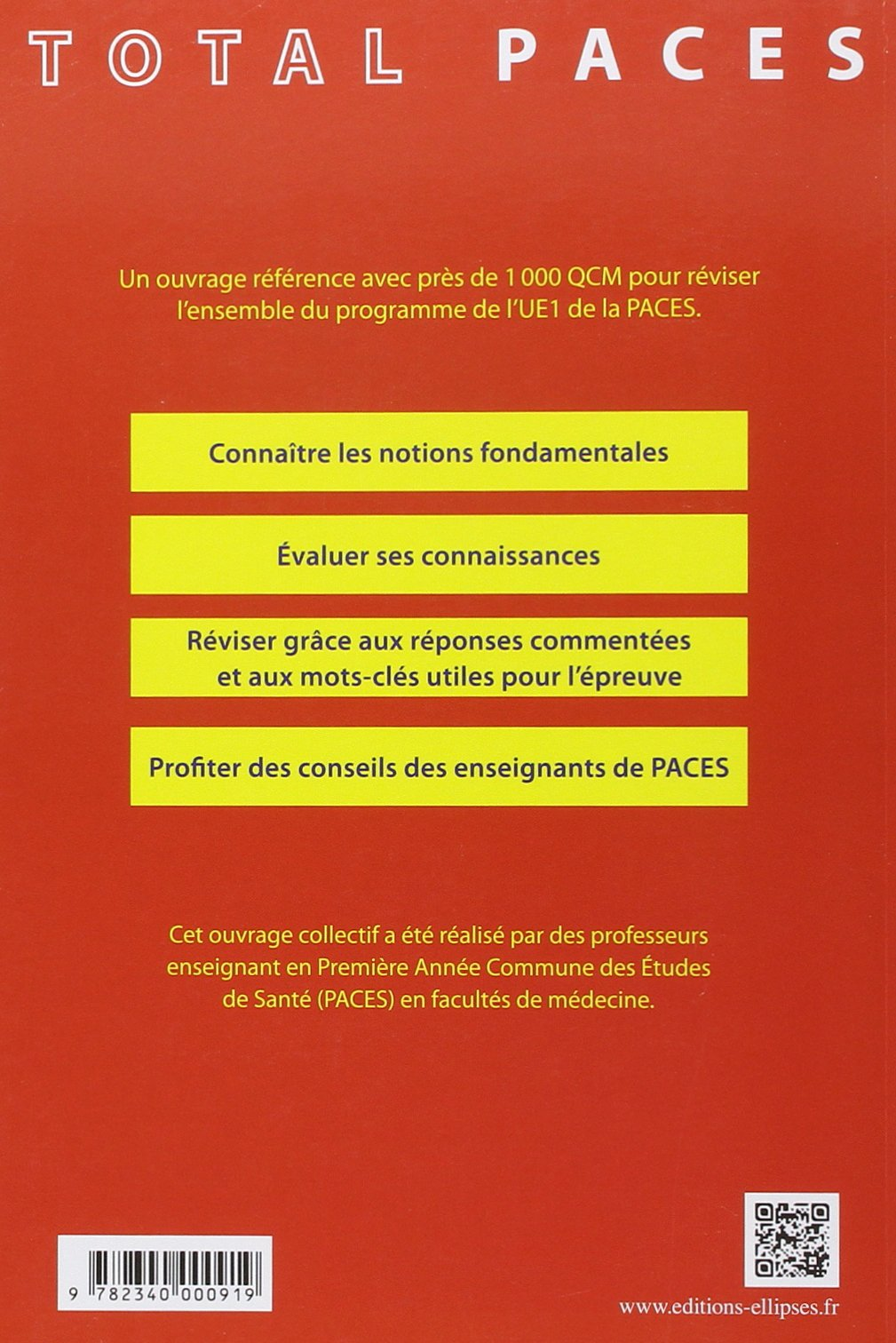 e1765e3f9e70 Amazon.fr - Total PACES UE1 en 1000 QCM Corrigés et Commentés Chimie  Générale et Organique Biochime Physiologie Biologie Moléculaire -  Emmanuelle ...