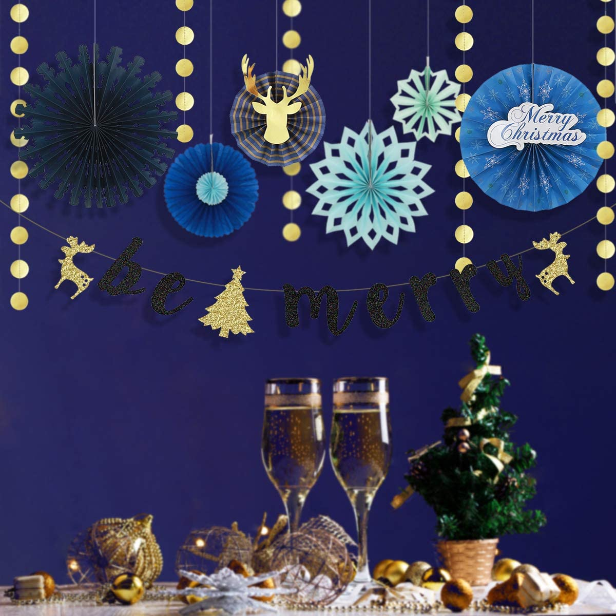 Winter Wonderland Decor PinkBlume Christmas Fan Decorations Kit with Blue Paper Fan Flowers,Gold Circle Dots Garland and Be Merry Letter Garland Banner for Christmas,Holiday Party