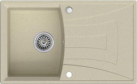 /évier de cuisine Beige 1 bac /Évier granit Primagran avec siphon automatique