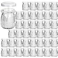 Glass Jars, KAMOTA 40 PACK 4oz Yogurt Jars With PE Lids, Glass Pudding Jars Yogurt Jars Ideal for Jam, Honey, Wedding Favors, Shower Favors, Baby Foods (150ml)