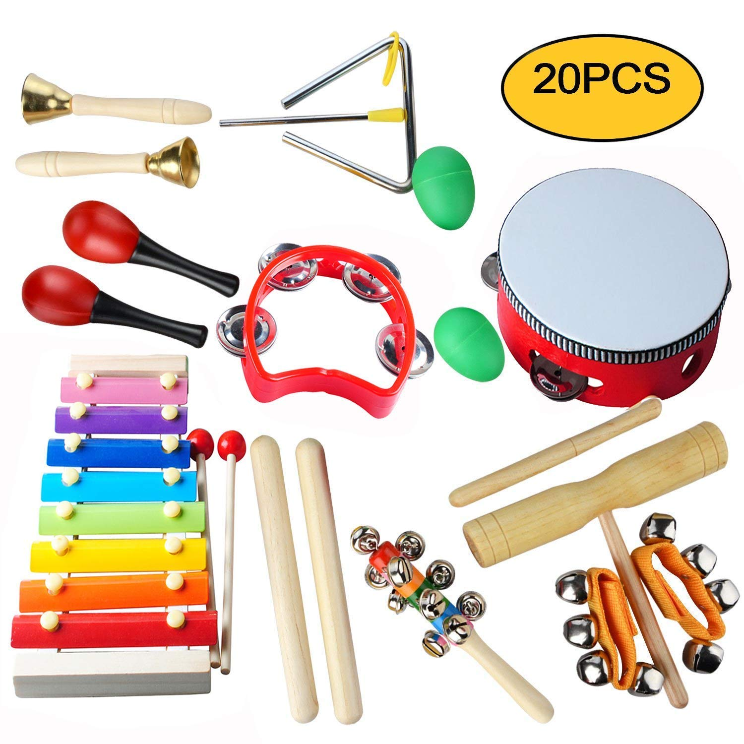 Kids Musical Instruments Set - Egg Shakers for Babies,Wooden Baby Percussion Toy Rhythm Xylophone,Infant Drum Set,Kids Percussion Toy,Rhythm Band for Toddler, Children Preschool Educational 20PCS