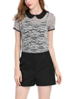 Allegra K Women's Contrast Peter Pan Collar See Through Lace Top