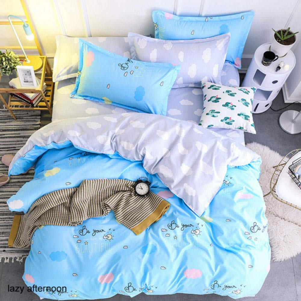 zhj888 Bedding Set Geometric Pattern Sheets Children's Dormitory Bed Lining Cartoon 3 / 4pcs Pillowcase