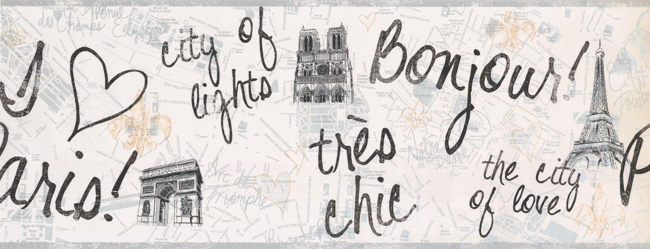 Paris City of Love Eiffel Tower PW3901B Wallpaper Border by York Wallpaper