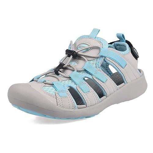 GRITION Trekking Sandalen für Damen Strandschuhe verstellbar - Für Spaziergänge Sportliche Outdoorsandalen Wanderschuhe Schuh