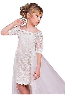 Kengtong Filles Robes pour Mariages Filles Fleur Robe en Dentelle Blanc  Fleur Dress Pageant Demoiselle d e81661d80a5