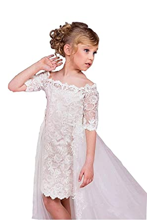 Kengtong Filles Robes pour Mariages Filles Fleur Robe en Dentelle Blanc  Fleur Dress Pageant Demoiselle d c2633ab74488