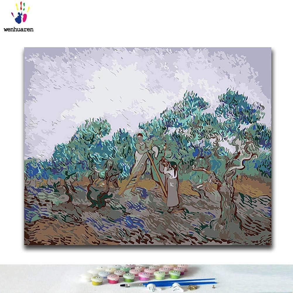 Kit de pintura al óleo para niños, estudiantes, adultos principiantes con pinceles y pigmento acrílico, pintura famosa de melocotón en el Crau