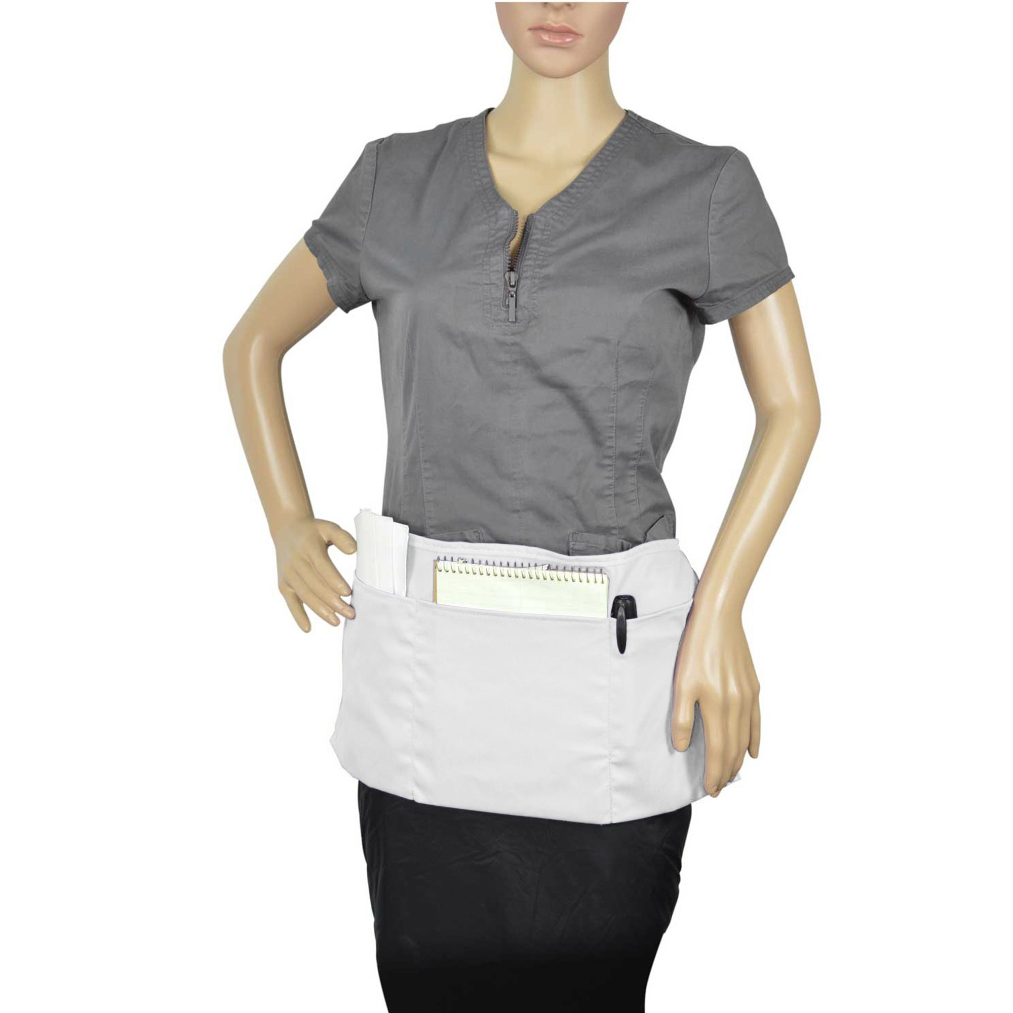 Waist Aprons Commercial Restaurant Home Bib Spun Poly Cotton Kitchen (3 Pockets) in White 100 Pack by DALIX (Image #6)