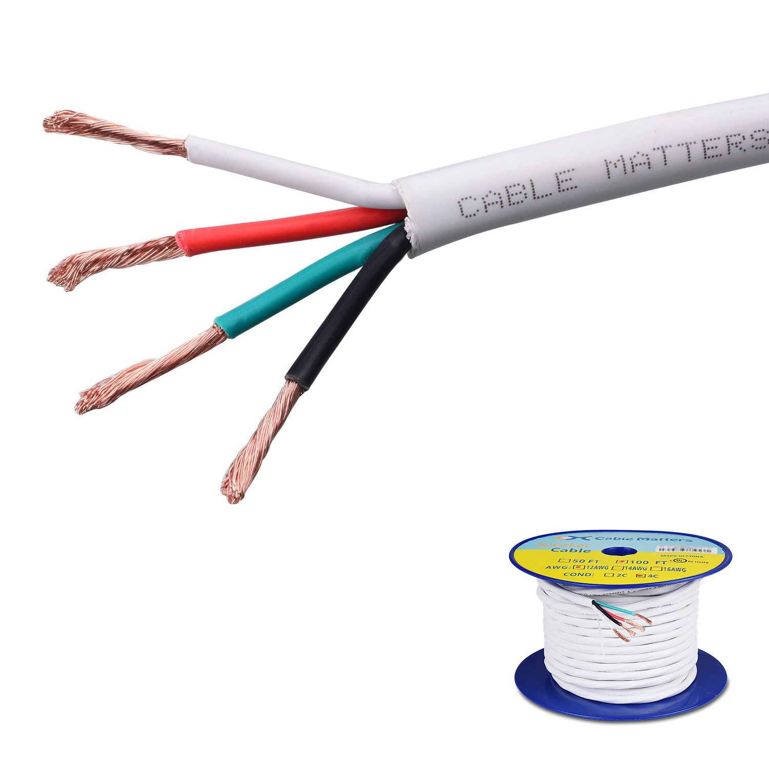 Cable Matters 12 AWG CL2 in Wall Rated Oxygen-Free Bare Copper 4 Conductor Speaker Wire (Speaker Cable) 100 Feet