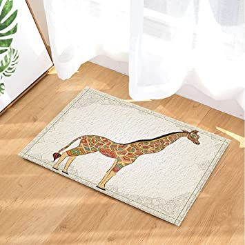 Cdhbh Afrika Tiere Decor Hand Giraffe In In Boho Stil Bad Teppiche