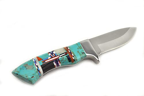 LANDMARK15 Custom Made Native American Style Turquoise Coral Inlay Drop Point Knife