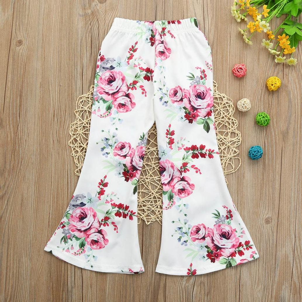 Corsion Toddler Kids Baby Girls Floral Print Pants Flared Trousers Outfits Clothes