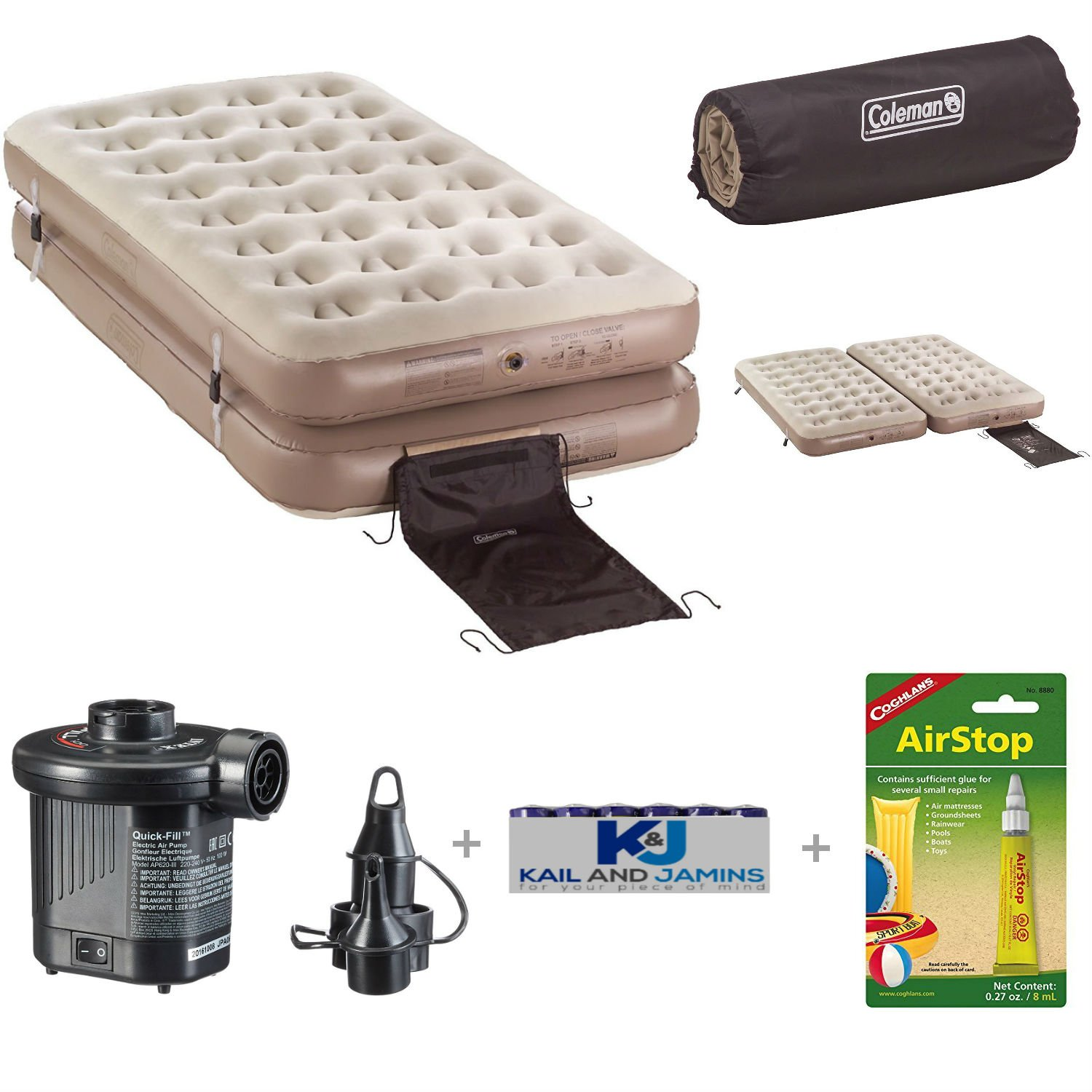 Inflatable Coleman Air mattress + Air pump and Repair Kit By K&J's – Serves as a Twin Double Bed, Single High King Bed, as you choose, - This heavy duty blow up is a great bed for camping, picnics