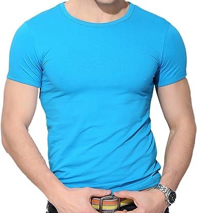 QIYUN.Z Los Hombres Casuales Color Solido De Manga Corta Ronda Cuello Bodycon Delgada Camisa De La Blusa Camiseta: Amazon.es: Ropa y accesorios