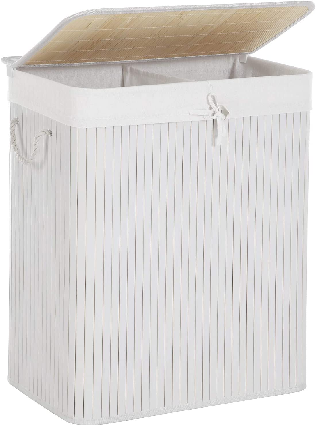SONGMICS XXL 100 L Bamboo Laundry Basket Washing Box Bin Storage Hamper with 2 Sections Lid and Removable Washable Lining LCB64WT