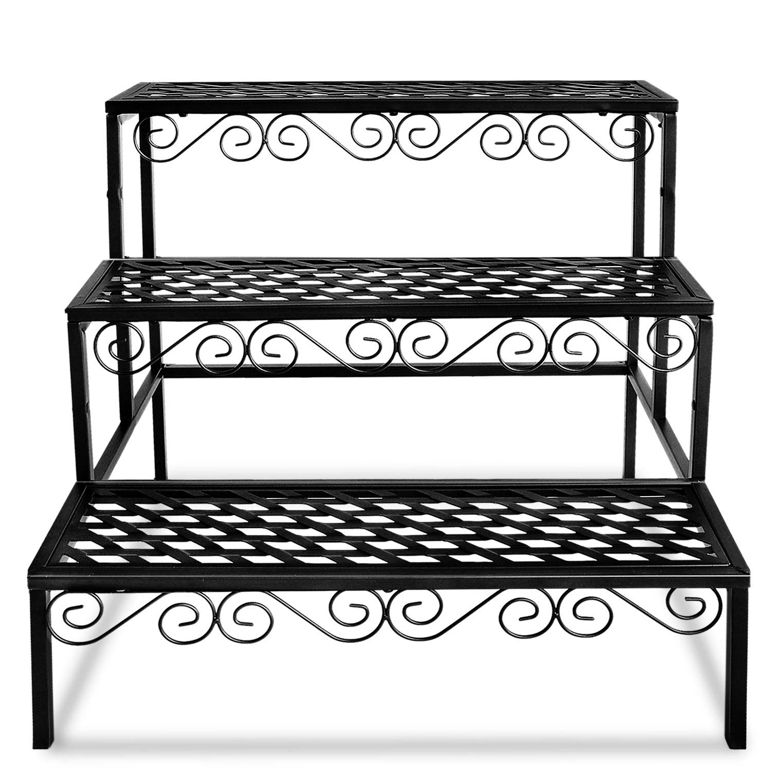 Tiered Plant Stand Outdoor Metal 3 Tier Stands for Multiple Plants Ladder Potted Indoor Shelf Holder Rack by FOYUEE