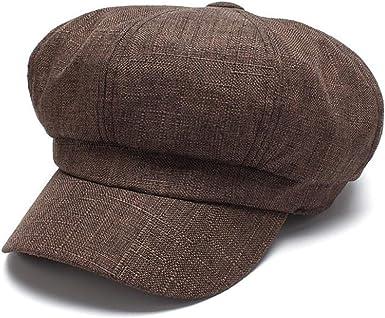 Spring Summer Linen Cotton Newsboy Caps for Men Vintage Plaid Flat Cap Berets Gorras Casual Hat