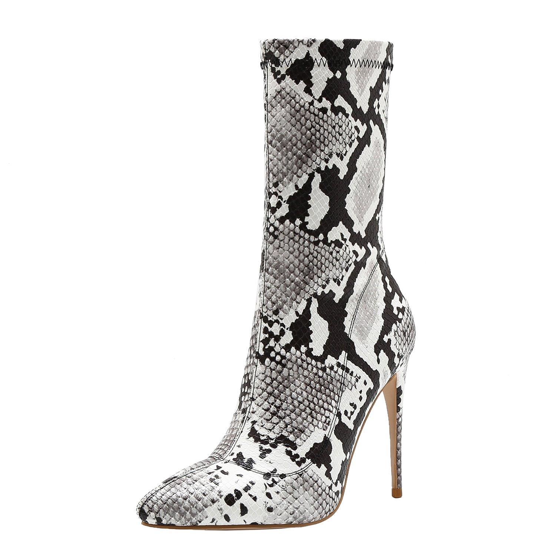 Vivi Womens Pu Leather High Heel Socks Mid Calf Boots Size 7.5