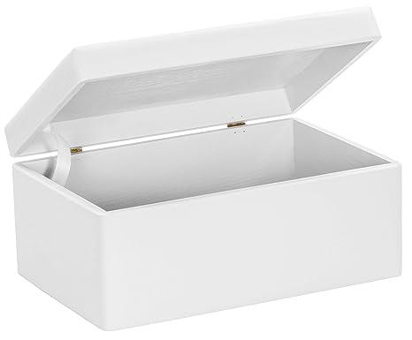 Grinscard Caja de Madera Universal con Tapa para Almacenamiento - Lacado Blanco Pino - Aproximadamente 30