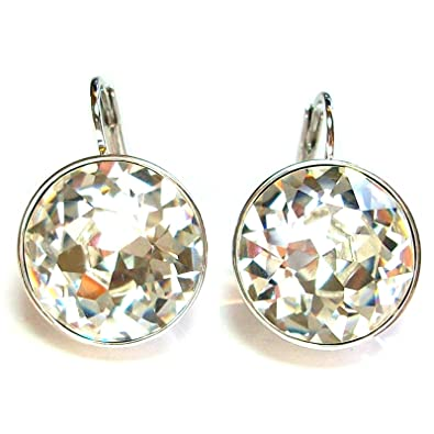 0d2f82519 Image Unavailable. Image not available for. Color: CP Large Bella Clear  Crystal Rhodium Plated Earrings Made with Swarovski Crystals