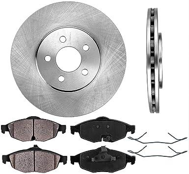 Front Brake Discs Rotors Ceramic Pads and Wheel Hub For 2001-2005 Dodge Stratus
