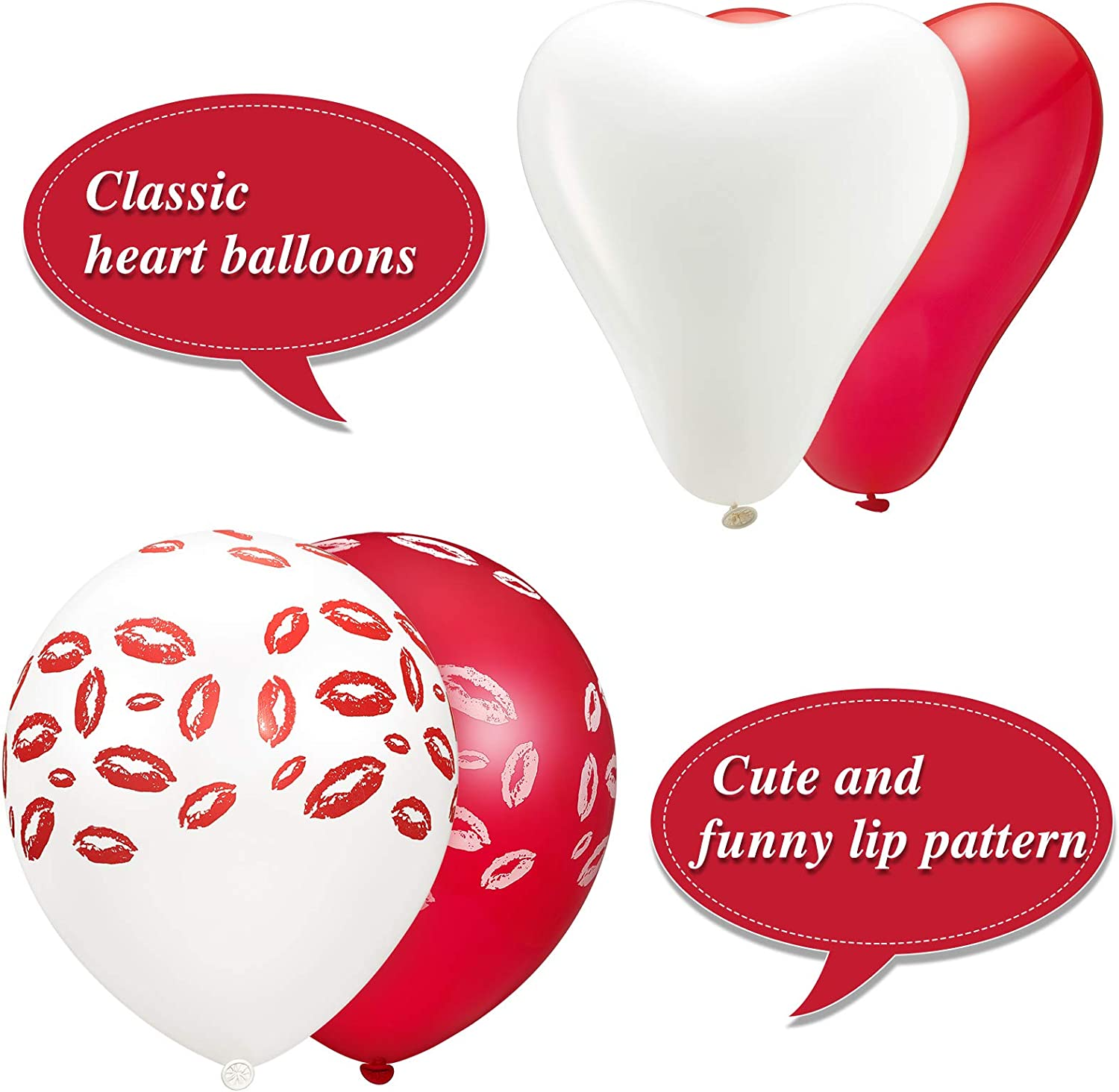 2 Colors 48 Pieces Lip and Heart Shape Latex Balloons Red and White Lip Kiss Printed Balloons Valentine Heart Balloon for Valentines Day Romantic Themed Party Decoration Anniversary Party Supplies