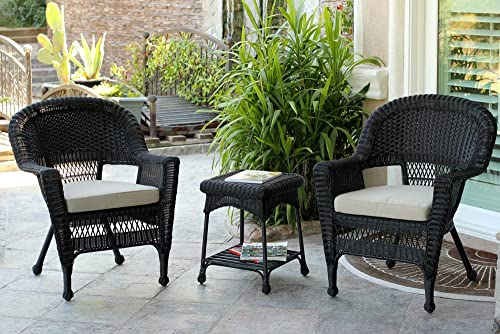 Jeco 3 Piece Wicker Chair and End Table Set with Tan Cushion, Black