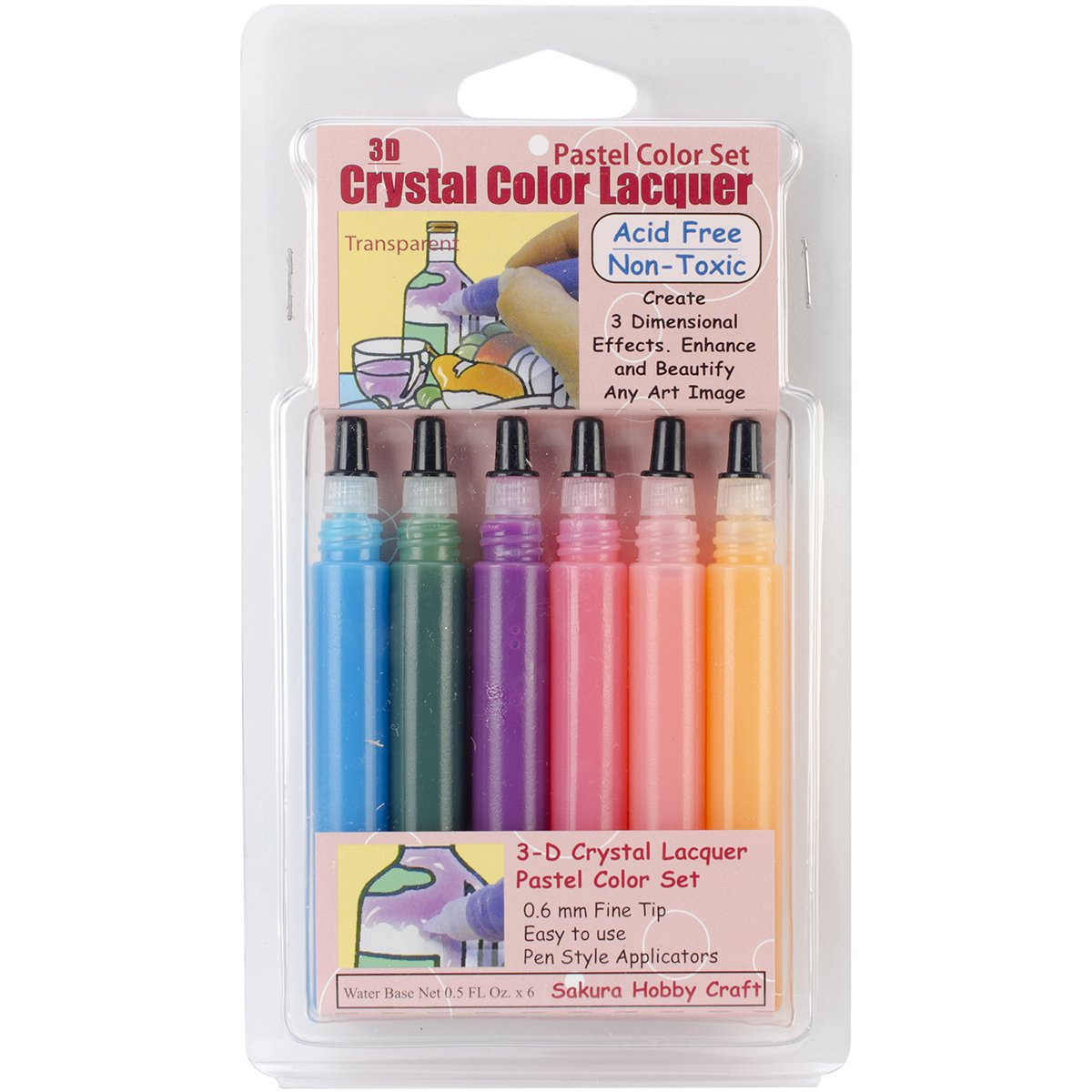 SAKURA HOBBY CRAFT 3D Crystal Lacquer Color Pens, Pastel Notions - In Network 3002